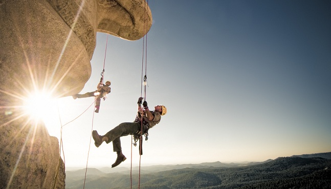Search and Rescue Rope Access Training on the faces of Mt Rushmore, Black Hills, South Dakota.